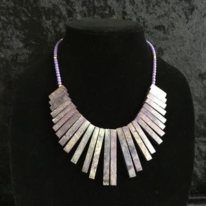 Jewelry - Purple Stone Statement Necklace (d003)